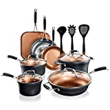 NutriChef Stackable Pots and Pans Set – 14-pcs Luxurious Stackable Cookware Set – Sauce Pans Nonstick Set with Lids– Healthy Food-Grade Copper Non-Stick Ceramic Coating - PTFE, PFOA, and PFOS Free