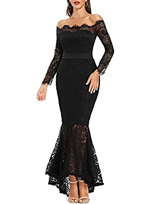 ✪Sexy Curves -- Mermaid dress is adorned with delicate lace shell, eyelash lace details and off shoulder design. ✪Nice Style -- Wedding dress has a snug fitting bodice that extends into a sheer, flared mermaid hemline. ✪Attractive Matching -- Elegant...