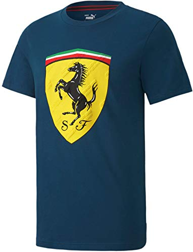 Formula 1 Scuderia Ferrari Men's Race Big Shield Tee+, Gibraltar Sea, XL