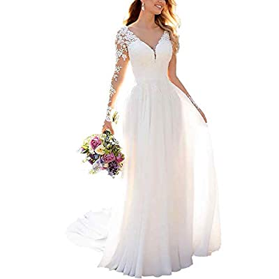 ❤Features: lace beach wedding dresses with appliques, long bohemian mermaid bridal gowns with train, long sleeve a-line princess bridal dresses for women 2020 ❤More choice: we accept free customization or alteration, please contact us after ordering....