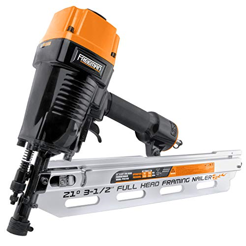 """Freeman PFR2190 Pneumatic 21 Degree 3-1/2"""" Full Round Head Framing Nailer with Case Ergonomic and Lightweight Nail Gun with Interchangeable Trigger, Tool-Free Depth Adjust, and No Mar Tip, Black"""
