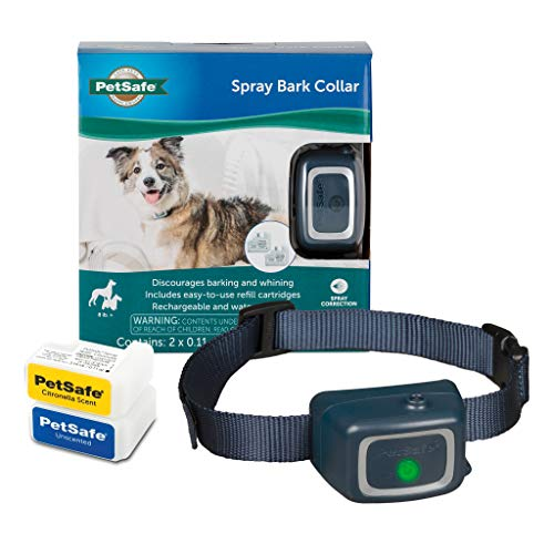 PetSafe Spray Bark Dog Collar, Anti-Bark Device for Dogs 8 lb. and Up, Waterproof and Rechargeable Collar with Disposable Citronella and Unscented Spray Cartridges