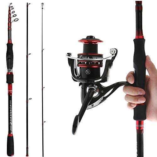 Reawow - Canna da pesca telescopica e mulinello, combinata portatile in fibra di carbonio, con bobine rotanti, per pesca sportiva, in 2 parti, da viaggio