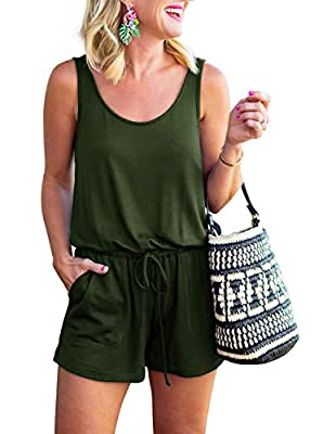 🌸Customer who is 5'3 135lbs 32DD & Jean size 27/28 , size Medium, fit perfect. This tank top rompers is loose and super stretch to wear ,soft and lightweight . 🌸Casual loose tank top romper for teen girls feature with scoop neck, loose, adjustable wa...