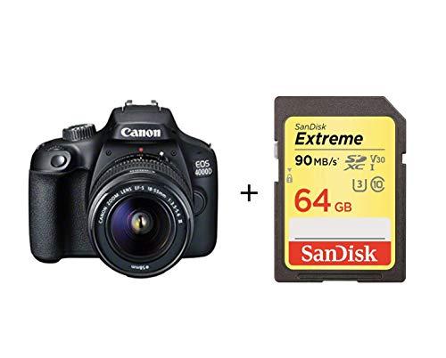 Canon Italia EOS 4000D + EF-S DC III Fotocamera Reflex, Nero, Lunghezza Focale 18-55 mm con scheda...