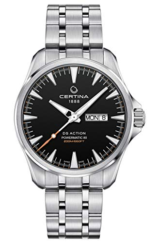 Certina DS Action Powermatic 80 Herren-Armbanduhr, schwarzes Zifferblatt, C032.430.11.051.00