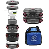 Bulin 13 PCS Camp Cookware Set Camping Cookwear Lightweight Stainless Steel Cookware Set Backpacking Cooking Set Mess Kit for Camping Family Hiking Camping Pots and Pans Set