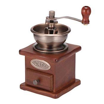 AEUWIER Moulin à café manuel, cafetière à manivelle de style vintage, moulin à main réglable de grande capacité à 3 modes pour le camping de voyage