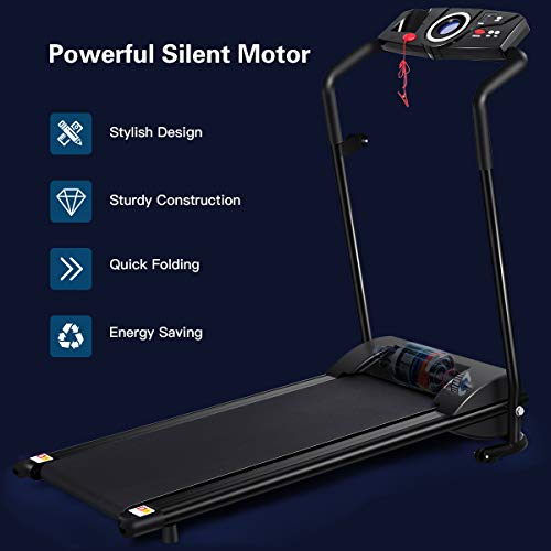 GYMAX Folding Treadmill, Electric Motorized Running Walking Machine with LCD Monitor & Cup Holder, Portable Easy Assembly Treadmill for Home Office Apartment 5