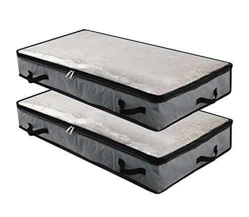 2 sacchetti pieghevoli sotto il letto per riporre le coperte e i piumini, organizer per camera da letto e armadio con finestra trasparente, 4 maniglie, cerniera, 100 x 50 x 15 cm, grigio