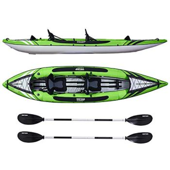 Driftsun Almanor 130 Inflatable Kayak - Green Two-Person Recreational Touring Kayak Package Includes EVA Padded Seats with High Back Support, Paddles, Pump and Travel Bag