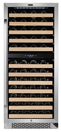 Whynter BWR-0922DZ 92 Built-in or Freestanding Stainless Steel Dual Zone Compressor Large Capacity Wine Refrigerator Rack for Open Bottles and LED Display, One Size, Black