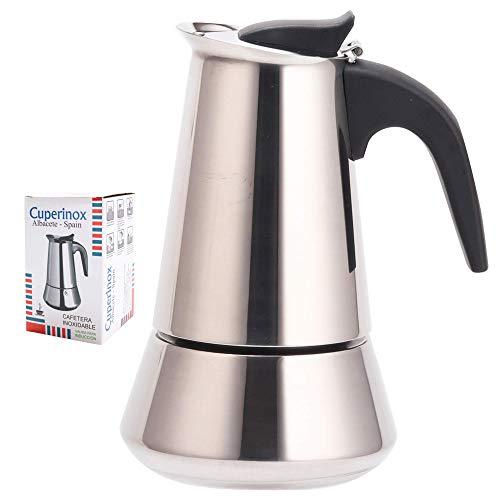 CUPERINOX Cafetera italiana induccion   4 tazas   cafetera express para placas gas y vitroceramica induccion   para cafe espresso   acero inoxidable   apto lavavajillas