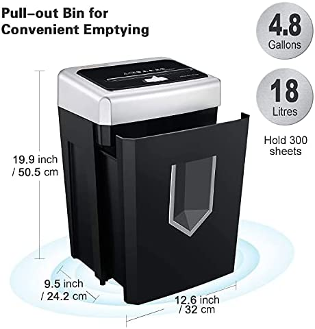 Paper Shredder Heavy Duty, Bonsaii 14-Sheet 30-Minute Cross-Cut Paper Shredders for Office Heavy Duty with 4.8 Gallons Large Pullout Basket, Jam Proof Quiet Shredding Credit Card/Staples 12