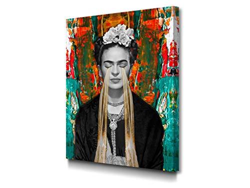 Foto Canvas Cuadro Frida Kahlo | Lienzos Decorativos - Decoración Pared - Cuadros de Salón | 30 x 40 cm sobre Bastidor De Madera Grueso listos para Colgar