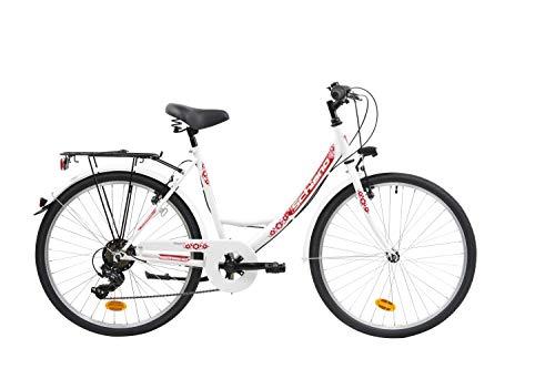 F.lli Schiano Elegance, Bici MONOTUBO Women's, Bianco-Rosso, 26''