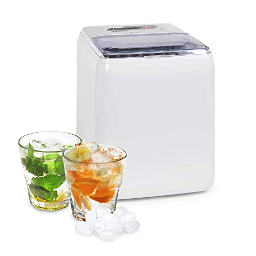 Klarstein Coolio máquina de cubitos de hielo - hielo transparente, 20 kg de hielo aldía, depósito de agua de 2,8 l, panel táctil, 2 tamaños de cubitos, Auto-Clean, máquina que fabrica cubitos, hielo