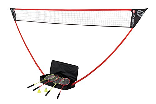 Zume Games Portable Badminton Set with Freestanding Base  Sets Up on Any Surface in Seconds  No Tools or Stakes Required