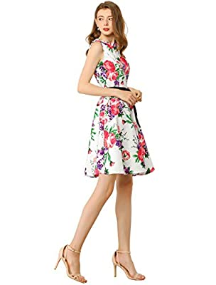 Floral Printed, Keyhole, Sleeveless, Crew Neck, Hidden Back Zip, Belt Loop, Unlined This sleeveless tea dress is a stunning vintage-inspired piece with a blend of florals in a beautiful color, crafted with elegant keyhole and optional self-sash tie b...