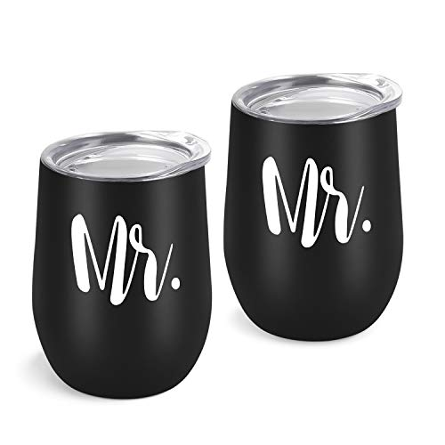 Gingprous 2 Pack Mr and Mr Wine Tumbler Set, Gay Couple Idea...