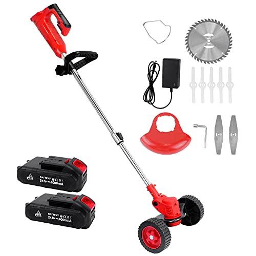 Tagliabordi senza fili con ruote, tagliabordi elettrico con 3 tipi di lame, 2 batterie e caricatore, regolabile, telescopico, decespugliatore, per giardino, fattorie, rosso