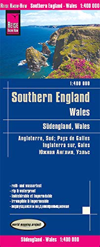 Inglaterra sur y Gales, mapa de carreteras impermeable. Escala 1:400.000. Reise Know-How.: world map