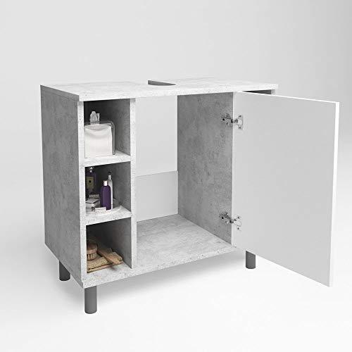Vicco Waschtischunterschrank Fynn Badschrank Badezimmerschrank WaschbeckenunterschrankBadmöbel (Beton/Weiß)