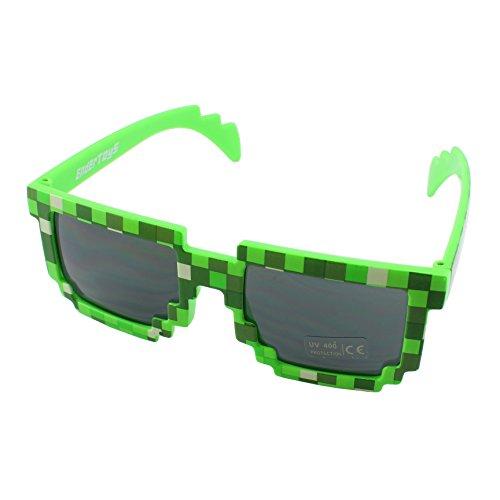 PixelKidsSunglassesGreen,NoveltyRetroGamerGeekGlassesforBoysandGirlsAges+byEnderToys