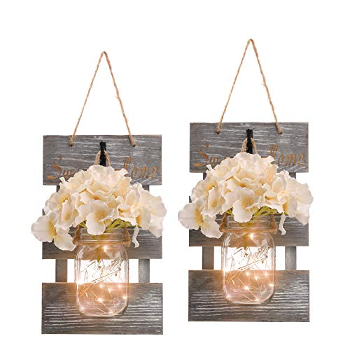HOMKO Mason Jar Wall Decor with 6-Hour Timer LED Lights and...