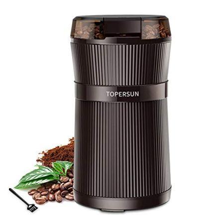 TOPERSUN Elektrische Kaffeemühle 200W mit Edelstahl Schlagmesser