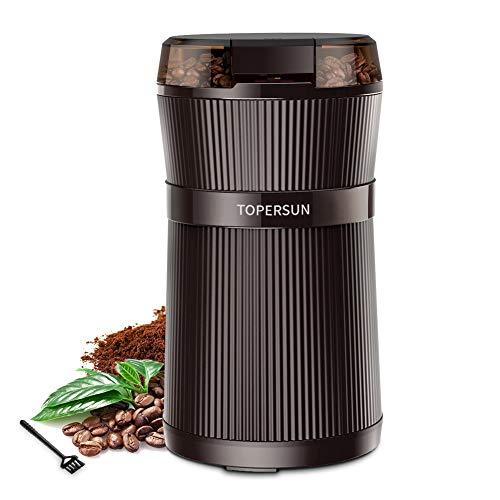 TOPERSUN Molinillo de Café Molinillo 200W Compacto de Café Eléctrico de Granos de café Semillas Frutos Secos o Granos con Cuchillas de Acero Inoxidable y Cepillo para Limpieza