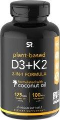 Vitamin D3 + K2 with Organic Virgin Coconut Oil   Plant-Based Vegan D3 (5000iu) with MK7 Vitamin K2 (100mcg) from...