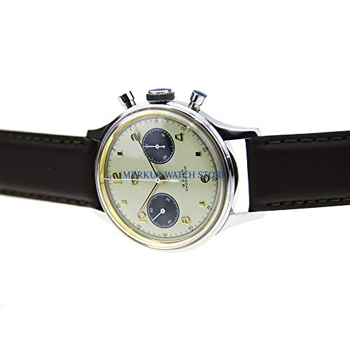 Pilot, orologio da polso vintage da uomo, cronografo, quadrante panda retrò, 304 Seagull Mvt 38 mm, bianco