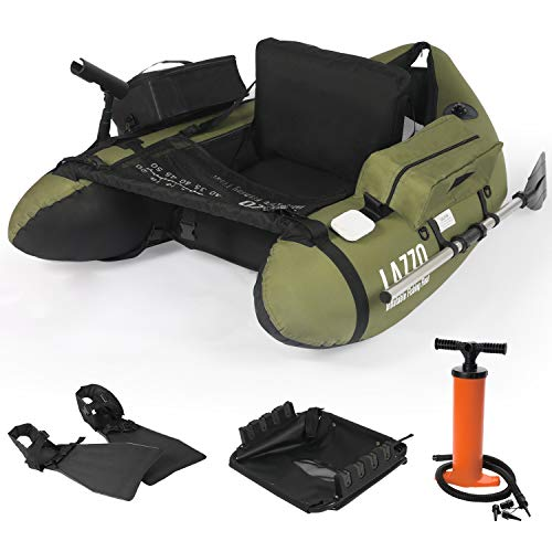 LAZZO Inflatable Fishing Float Tube with Hand Air Pump, Hold up to 286lb, Flotation Boat Includes...