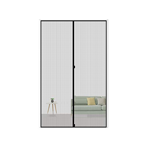 MAGZO Magnetic Screen Door 36 x 78, Reinforced Fiberglass Mesh Curtain Back Door Mesh with Full Frame Hook&Loop Fits Door Size up to 36'x78' Max-Grey