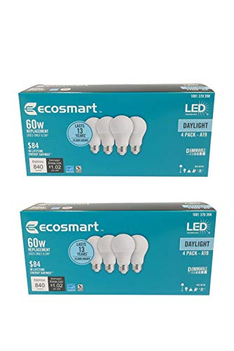 EcoSmart 60W Equivalent Daylight A19 Energy Star, Dimmable LED Light Bulb (8 Pack)