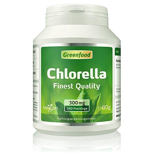 Greenfood Chlorella, 300 mg, 240 Presslinge – reich an Chlorophyll, natürlichen Vitaminen, Mineralien und Spurenelementen. OHNE künstliche Zusätze. Vegan.