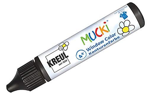 Kreul 24430 - Mucki Window Color, Fenstermalfarbe auf Wasserbasis, parabenfrei, glutenfrei, laktosefrei, vegan, leicht vermalbar, auswaschbar, 29 ml Pen, Konturenfarbe schwarz