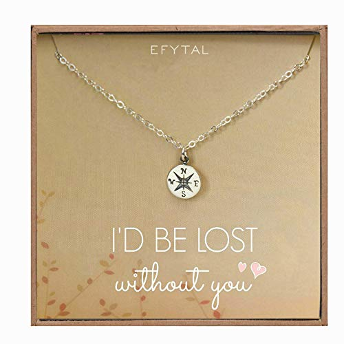EFYTAL Necklace Gift for Girlfriend / Wife, Sterling Silver Cute I Love You Compass Heart Jewelry For Her, I'd Be Lost Without You Valentines Day, Romantic Anniversary Birthday Gift Ideas
