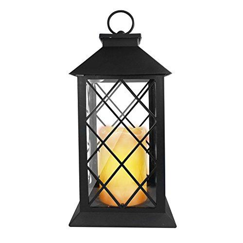Eaxus®️ Laterne mit LED Kerze. Garten & Wohnzimmer Deko Lampe mit Flammeneffekt