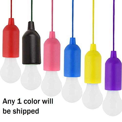 SpiderJuice Creative Tug Stretch Pull to Turn on/OFF Portable Hanging String Rope LED Bulb Indoor Outdoor Lighting Camping Tents Hiking Adventure Mountaineering Activities (Random Color)
