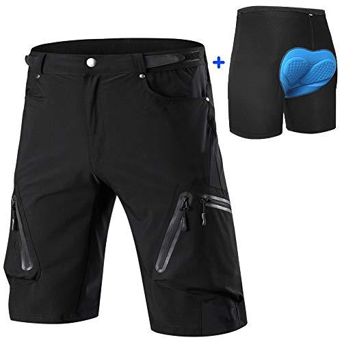 Cycorld MTB Hose Herren Radhose, Schnelltrocknend Mountainbike Hose Fahrradhose mit 4D Sitzpolster, Elastische Outdoor Sport Herren Radlerhose MTB Bike Shorts