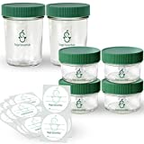 Glass Baby Food Storage Containers | 4 Glass 4oz & 2 Glass 8oz Baby Food Jars & Lids | 30 Labels | Freezer Storage | Reusable Glass Baby Food Jars | Microwave & Dishwasher Safe | for Babies & Kids