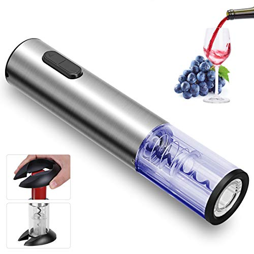 REDMOND Electric Wine Opener, Rechargeable Cordless Stainless Steel Automatic Corkscrew Wine Opener with Foil Cutter Base, Cork Remover for Wine Bottle LED Indicator Light for Home Use, WO002
