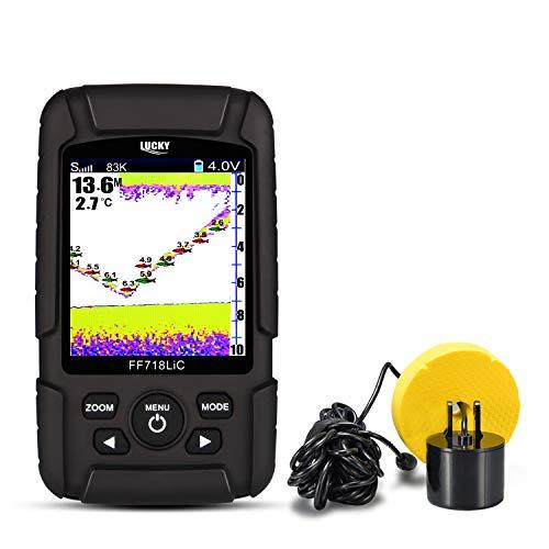 LUCKY 7,1 cm LCD a Colori Portatile Fish Finder Sonar 200 kHz/83KHZ Doppia frequenza 100 m profondit di rilevazione Finder