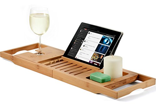 Bamboo Bathtub Caddy Tray - Wood Bath Tray Expandable with Book and Wine Holder - Great Gift Idea for Loved Ones