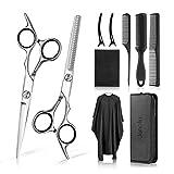 Janolia Ensemble de coiffure et de coiffure, ciseaux de coiffure, peigne assorti, clip, châle de coiffure, brosse, dégagement beauté, ciseaux à barbe et...