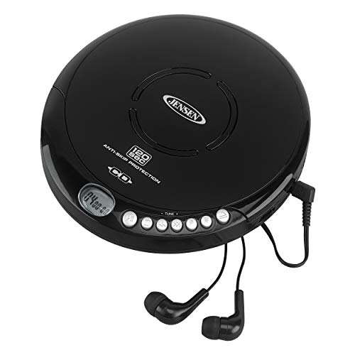 Jensen Portable CD-120BK Portable Personal CD Player Compact 120 SEC Anti-Skip CD Player  Lightweight & Shockproof Music Disc Player & FM Radio Pro-Earbuds for Kids & Adults