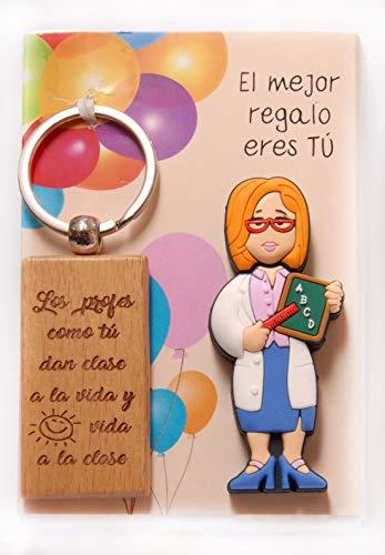USB de 16gb. Profesora y Llavero de Madera con Leyenda grabada en láser.