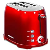"""Toaster 2 Slice, REDMOND Toaster 2 Retro Bagel Stainless Steel Compact with 1.5""""Extra Wide Slots and 7 Bread Shade Settings for Breakfast, 800W, ST032 (Red)"""